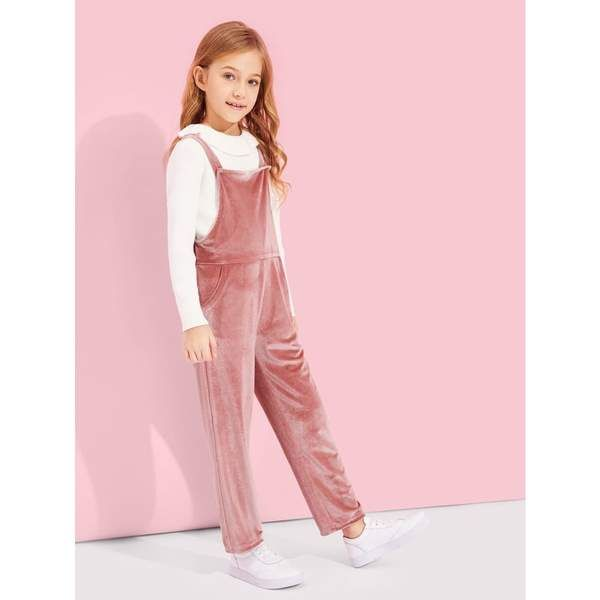29a901104857 Girls Crushed Velvet Pinafore Jumpsuit