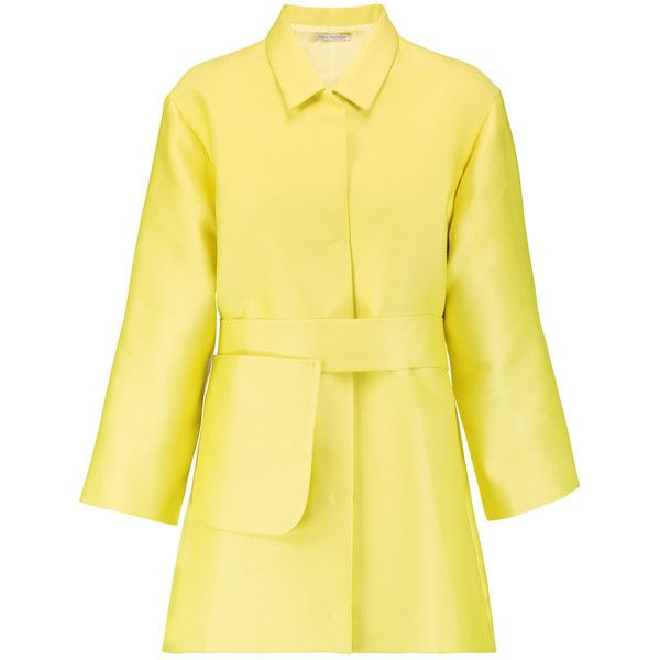 Emilia Wickstead Madge belted duchesse-satin coat ($970) ❤ liked on Polyvore featuring outerwear, coats, bright yellow, faux coat, belted coat, emilia wickstead, beige coat and yellow coat