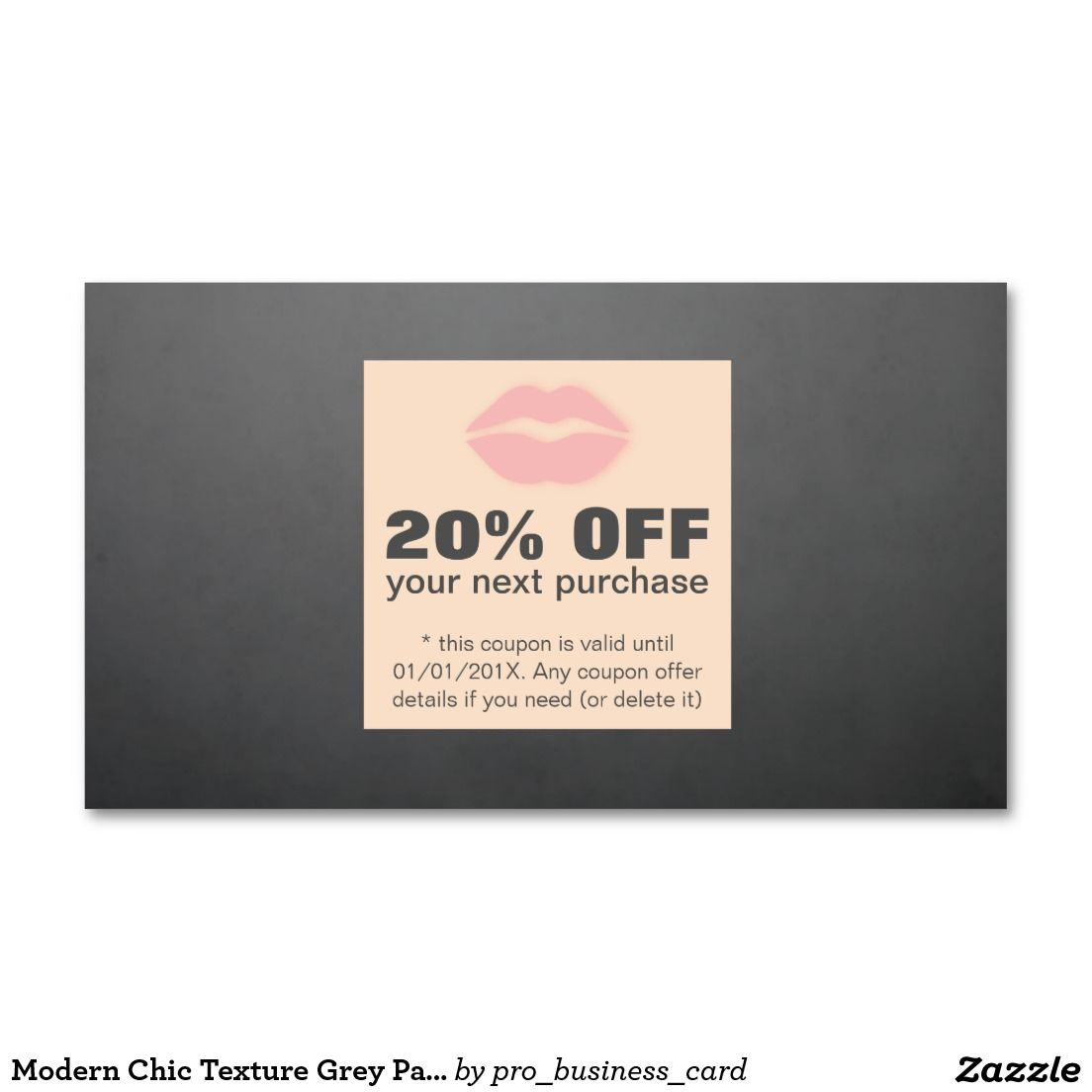 Modern Chic Texture Grey Pale Pink Coupon Makeup | Loyalty Cards ...