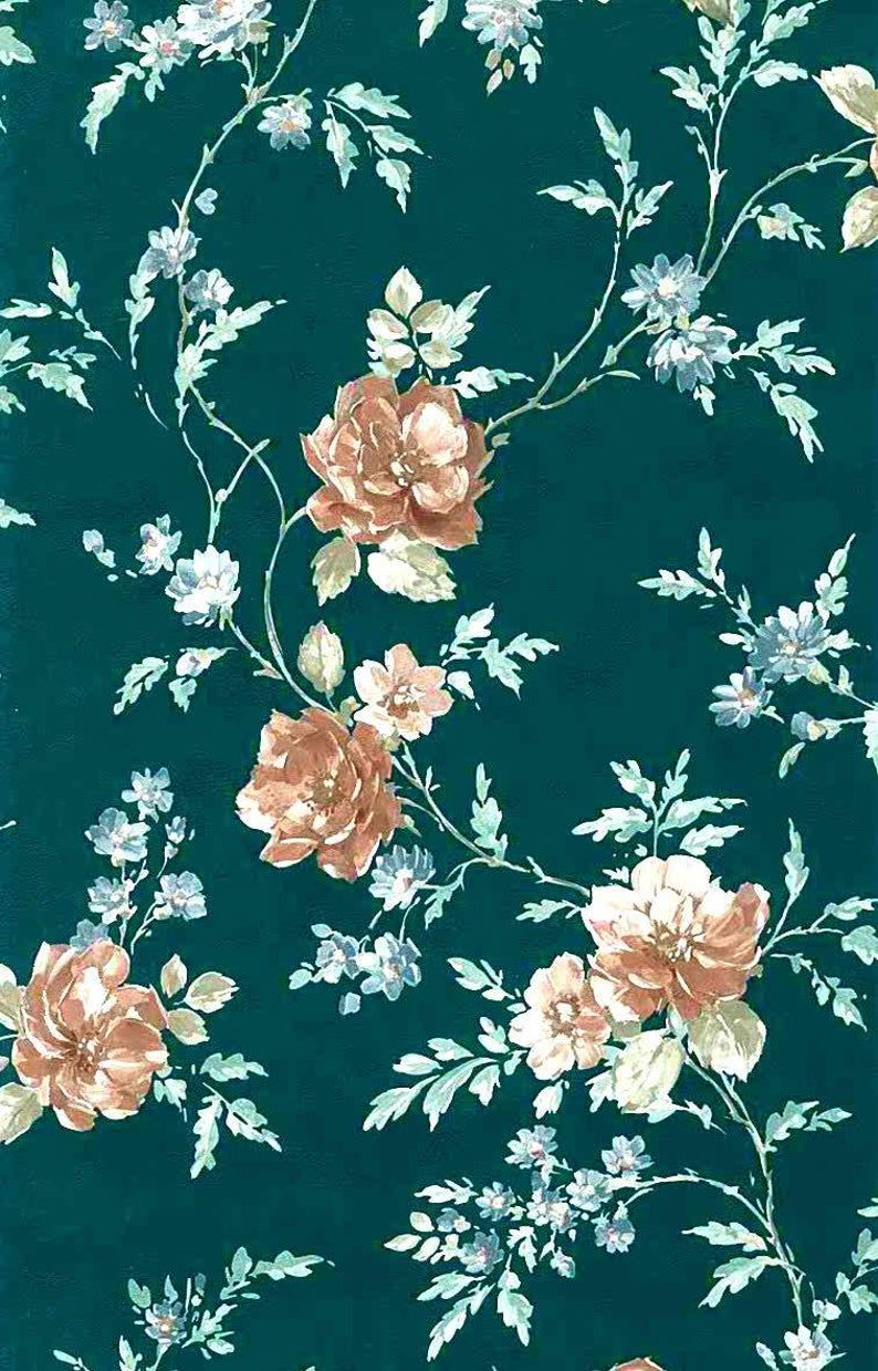 Green Floral Vintage Wallpaper Satin Textured Roses Blue Brown 30226 Double Rolls