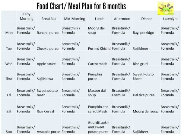 diet chart for 6 month baby: 6 month baby food chart indian food chart for 6 months old baby