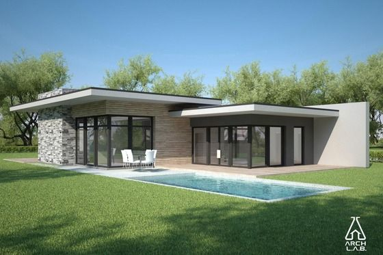 Modern Style House Plan 3 Beds 2 Baths 1716 Sq Ft Plan 552 4 Modern Style House Plans Flat Roof House Flat Roof House Designs