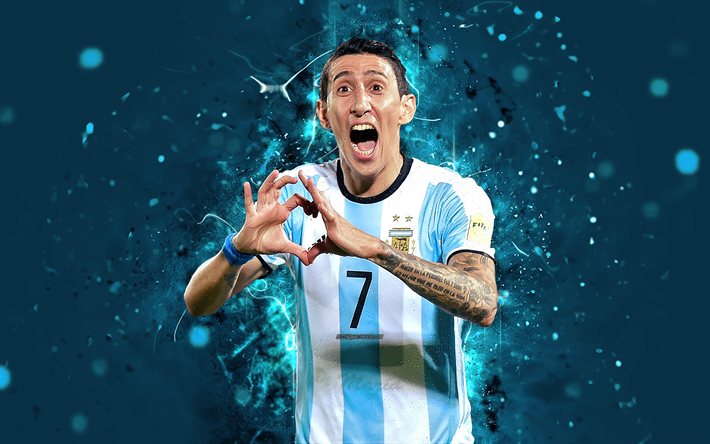 Download Wallpapers 4k Angel Di Maria Abstract Art Argentina