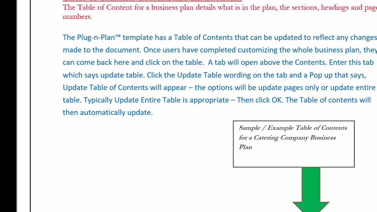Catering Business Plan Table Of Contents  Catering Business Plan