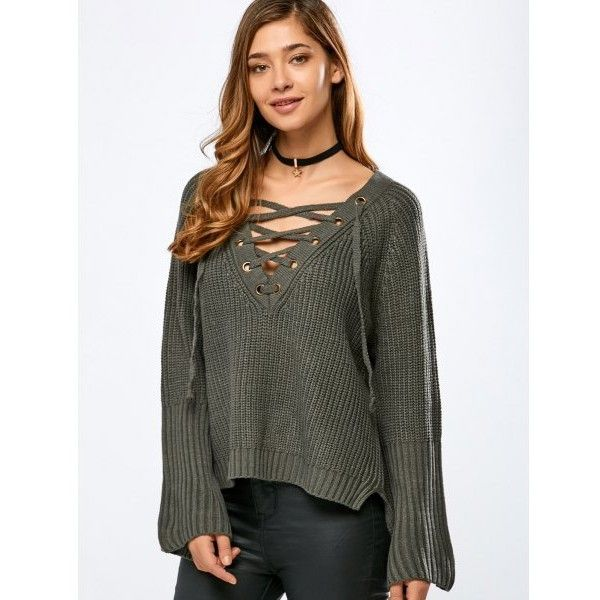 V Neck Long Sleeve Lace Up Sweater ($18) ❤ liked on Polyvore featuring tops, sweaters, long sleeve v neck sweater, lace front top, long sleeve sweater, lace-up tops and v-neck sweater