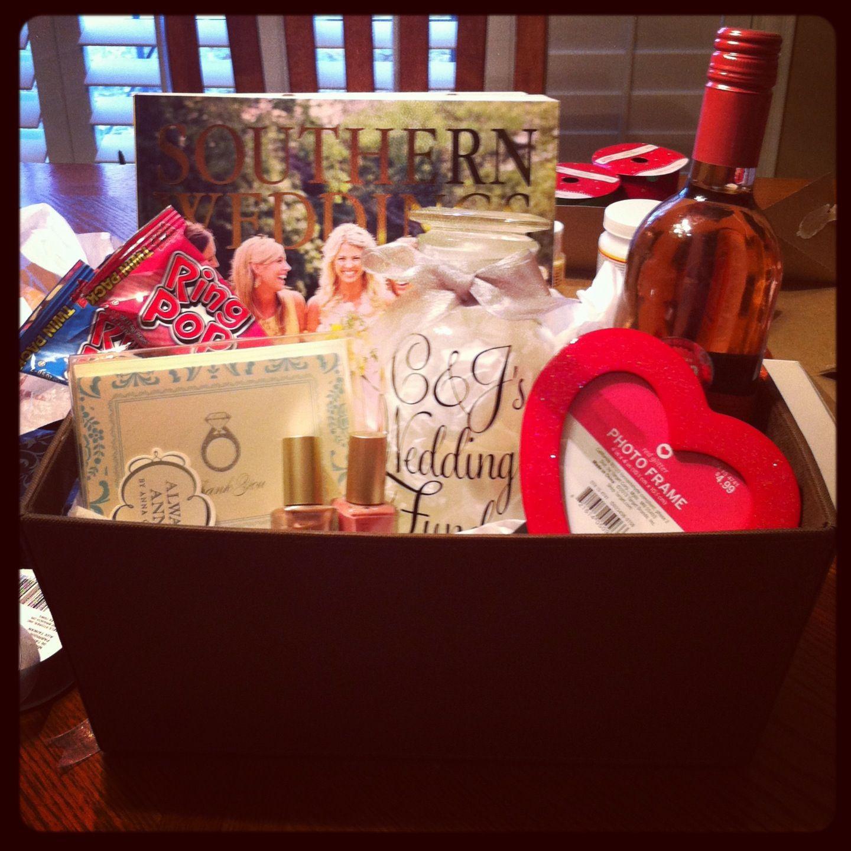 Best friends engagement gift basket bridal magazine ring pops