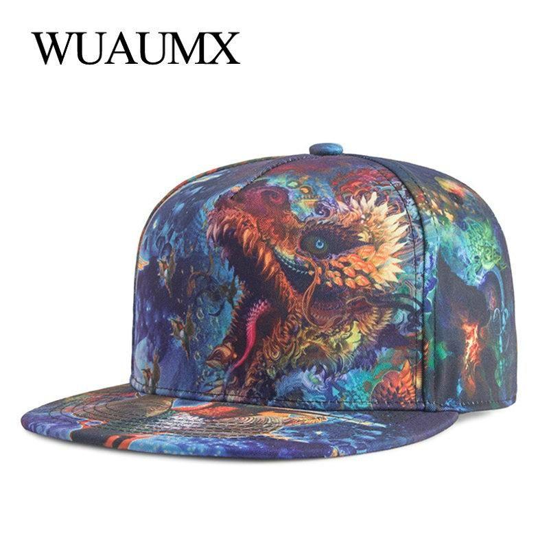 ca0a971c9d4 Wuaumx Fashion Bone Snapback Caps For Boys Girls 3D Print Dragon Hip Hop Cap  Baseball Caps Men Women Multicolour bone masculino.