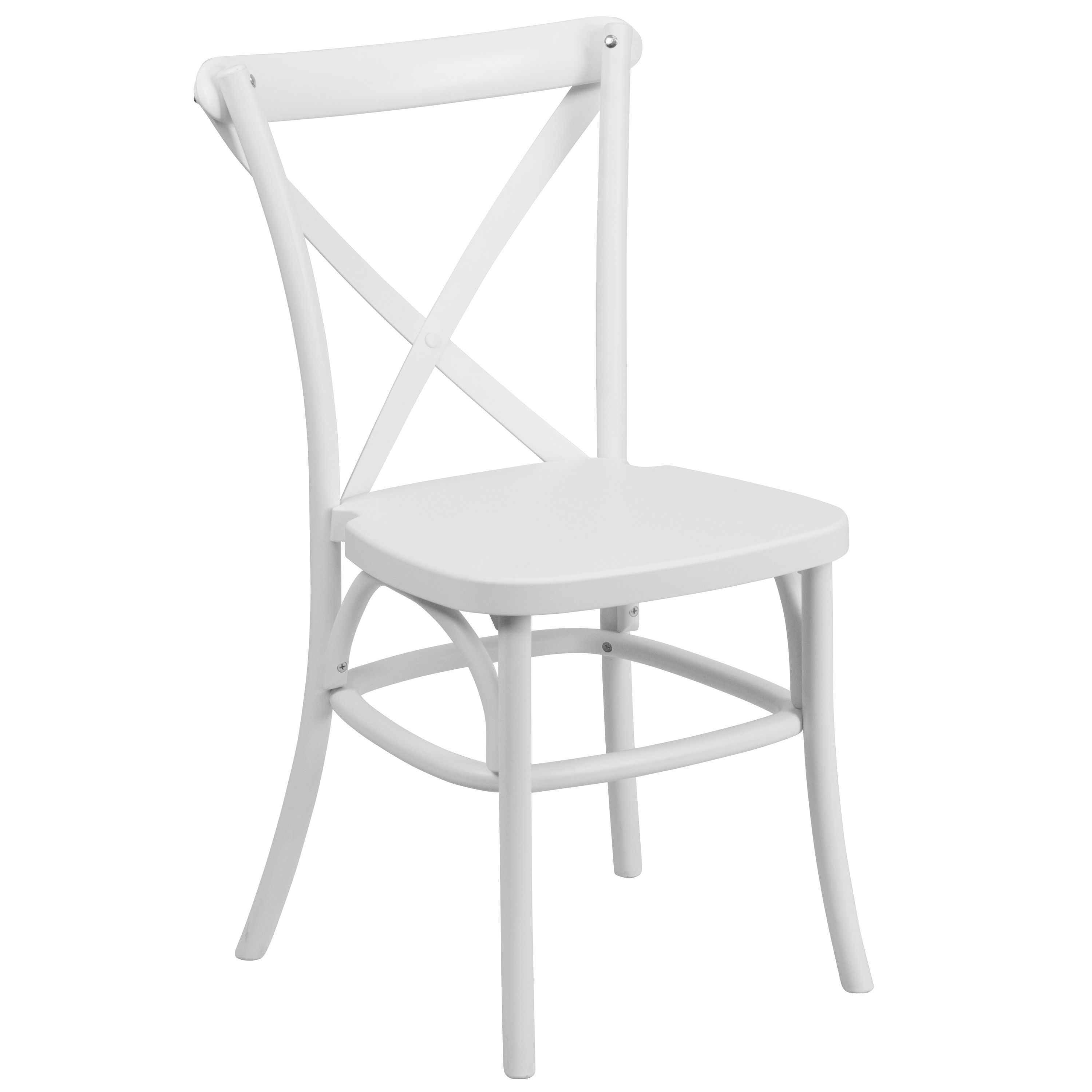 Saber Bistro Resin Cross Back Design White Stack Dining Chairs 1