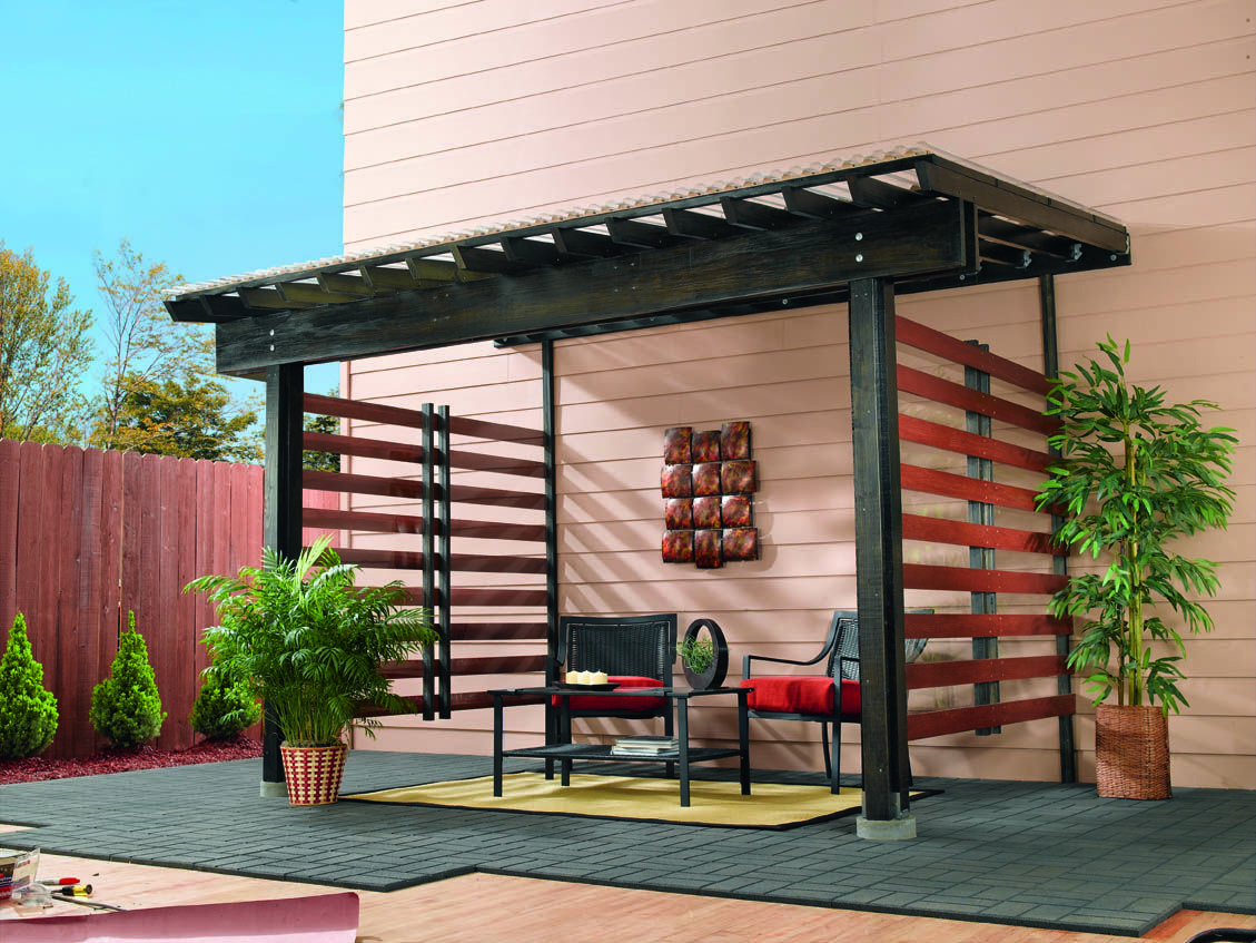 Diy Mini Patio With Clear Roofing Panels In 2020 Backyard Patio Designs Patio Design Backyard Pergola