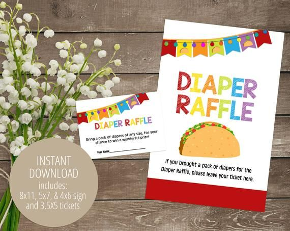 Taco 'Bout a Baby Diaper Raffle, Baby Shower Game, PFD Printable Activity, Fiesta Shower Game, Gender Neutral Shower Game, INSTANT DOWNLOAD