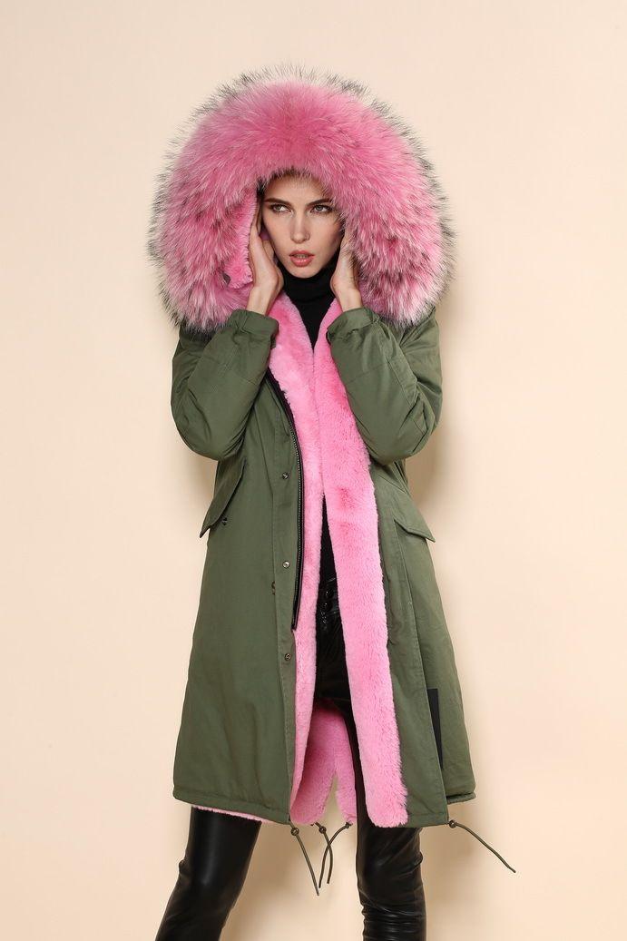 Mr & Mrs Furs Pink fur lined parka   Kleidung, Anziehsachen