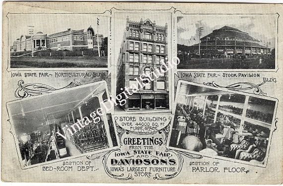 1908 Advertising Postcard From Iowa State Fair And Davidson 39 S Furniture Store Des Moines Iowa