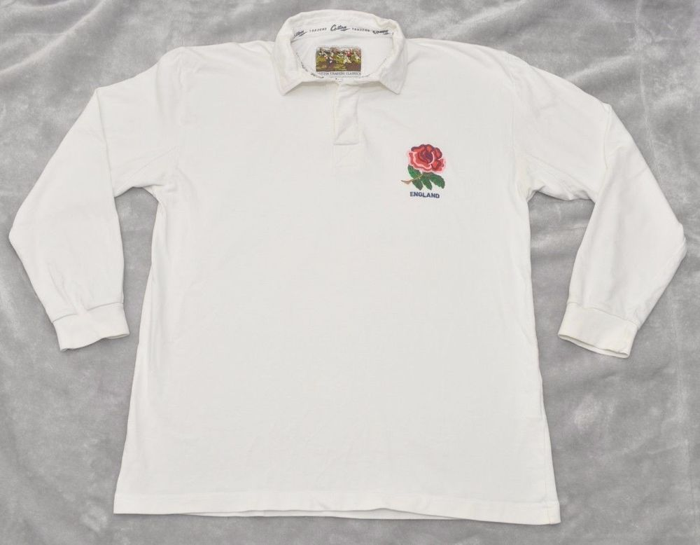 c363565d60b093 Cotton Traders England Rugby shirt mens long sleeved Polo Top Jumper Rose # CottonTraders #RugbyShirts