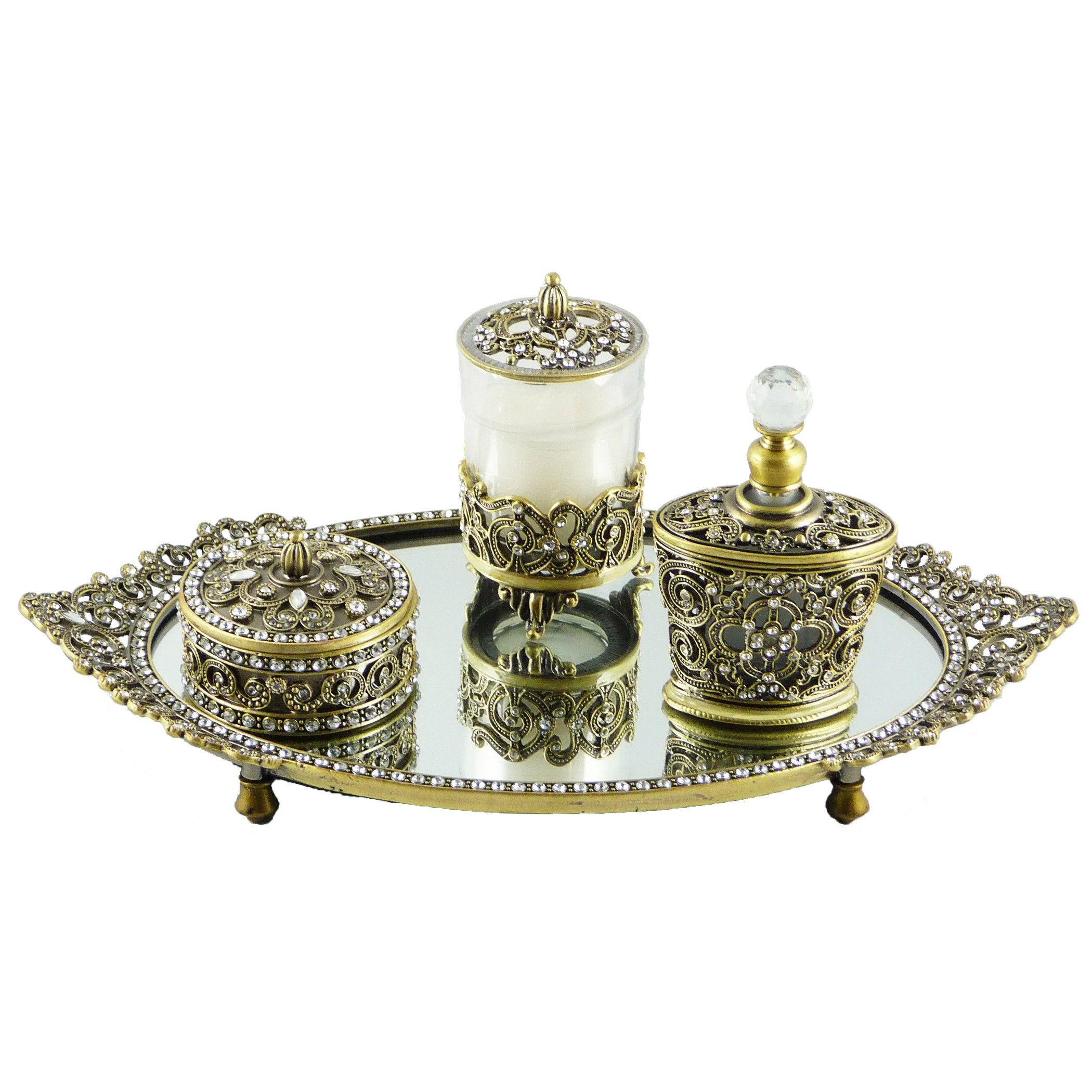 Vanity tray set globorank lipstick make up holders vintage pretty silver metal w gold tone vanity set with austrian crystals geotapseo Choice Image