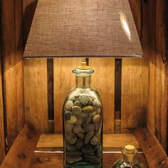 Deco Marine Lampe Bouteille Garnie De Galets De Granit Lampe
