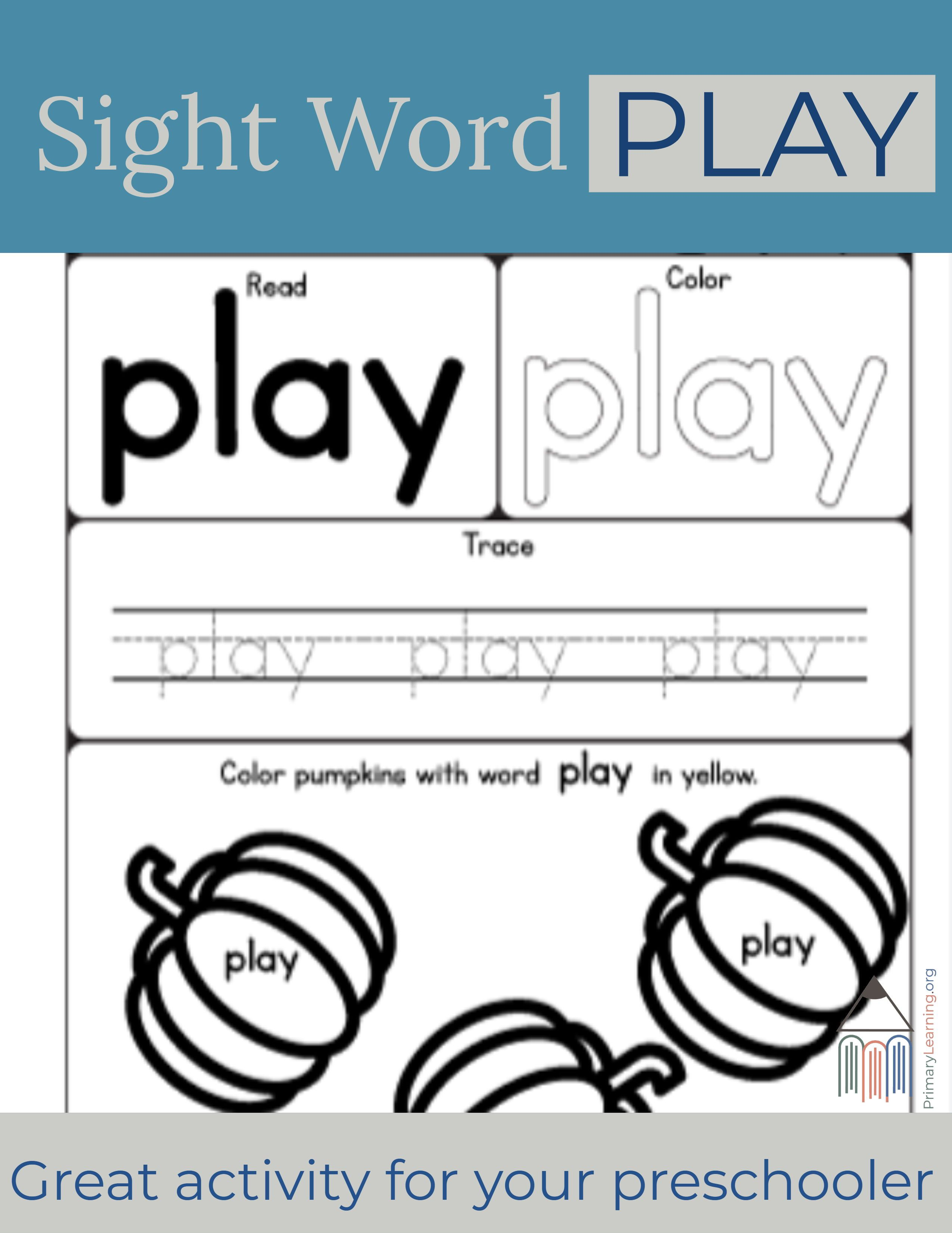 Sight Word Play Worksheet Primarylearning Org Sight Word Flashcards Sight Word Worksheets Pre Primer Words