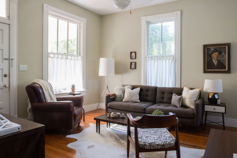 House Tour A Graphic Designer's Understated Austin Bungalow Enchanting Bungalow Living Room Design 2018