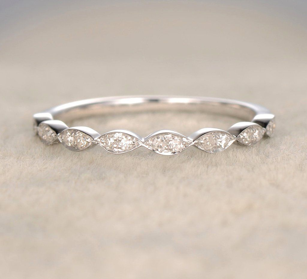 Pave Diamond Wedding Band Half Eternity Art Deco Anniversary Ring 14k White Gold: Wedding Ring Lure Meme At Websimilar.org
