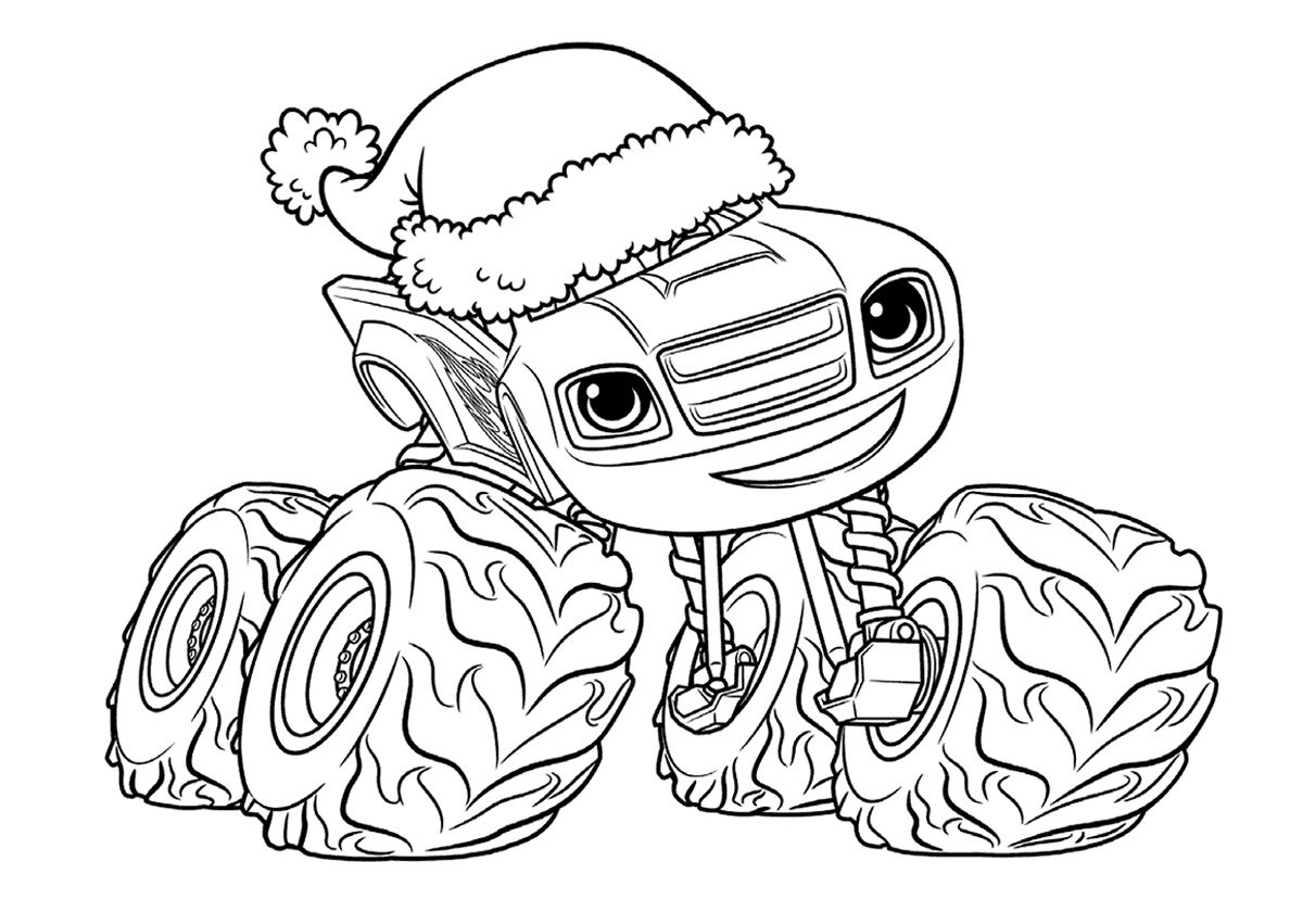 Blaze And Christmas Hat High Quality Free Coloring From The Category Blaze And The Monster M Cartoon Coloring Pages Coloring Pictures Crayola Coloring Pages