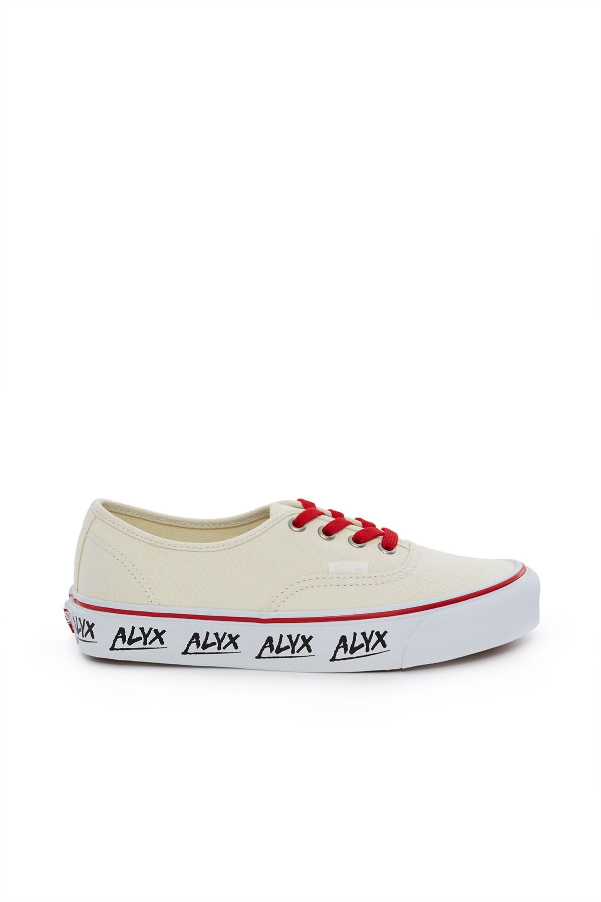 Vault by Vans x ALYX, ALYX OG Authentic LX Sneaker The OG Authentic LX  sneaker in cream features contrast red laces and ALYX's custom logo printed  along the ...