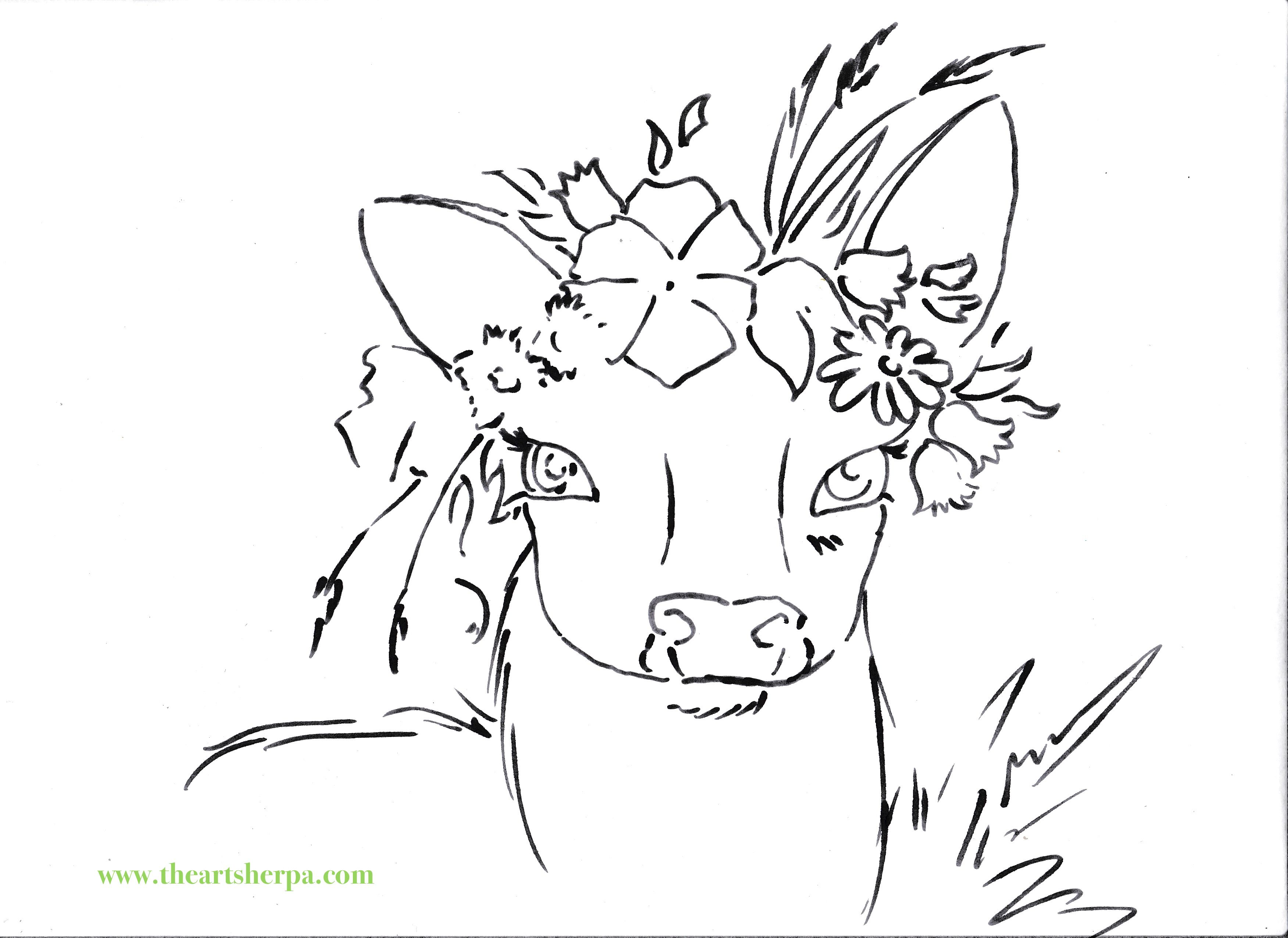 Deer with floral Crown Viviva watercolor traceable for the