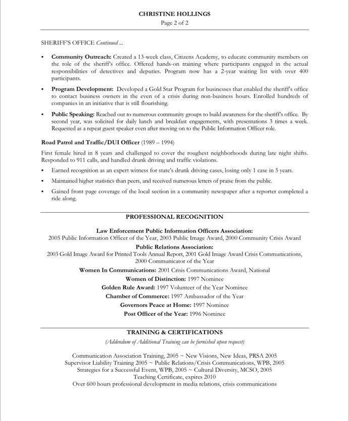 PR Manager-Page2 Non Profit Resume Samples Pinterest Sample - custom protection officer sample resume