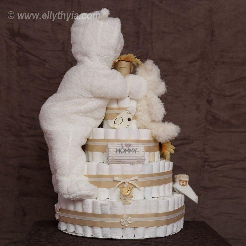 White Polar Bear And Baby Diaper Cake Side Baby Gift