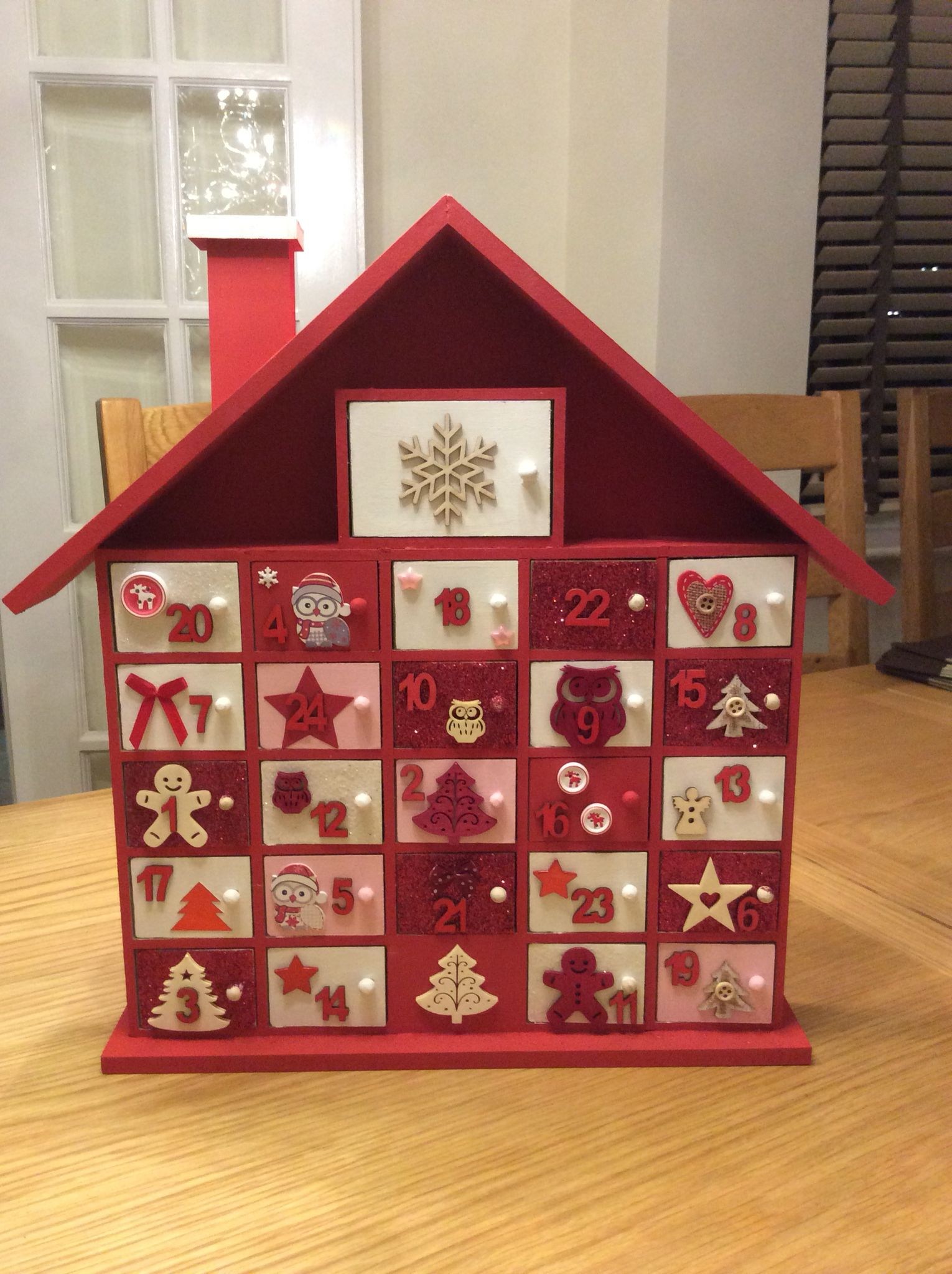 Hand decorated advent calender painted and embellishments added to hand decorated advent calender painted and embellishments added to hobbycraft plain advent house solutioingenieria Images