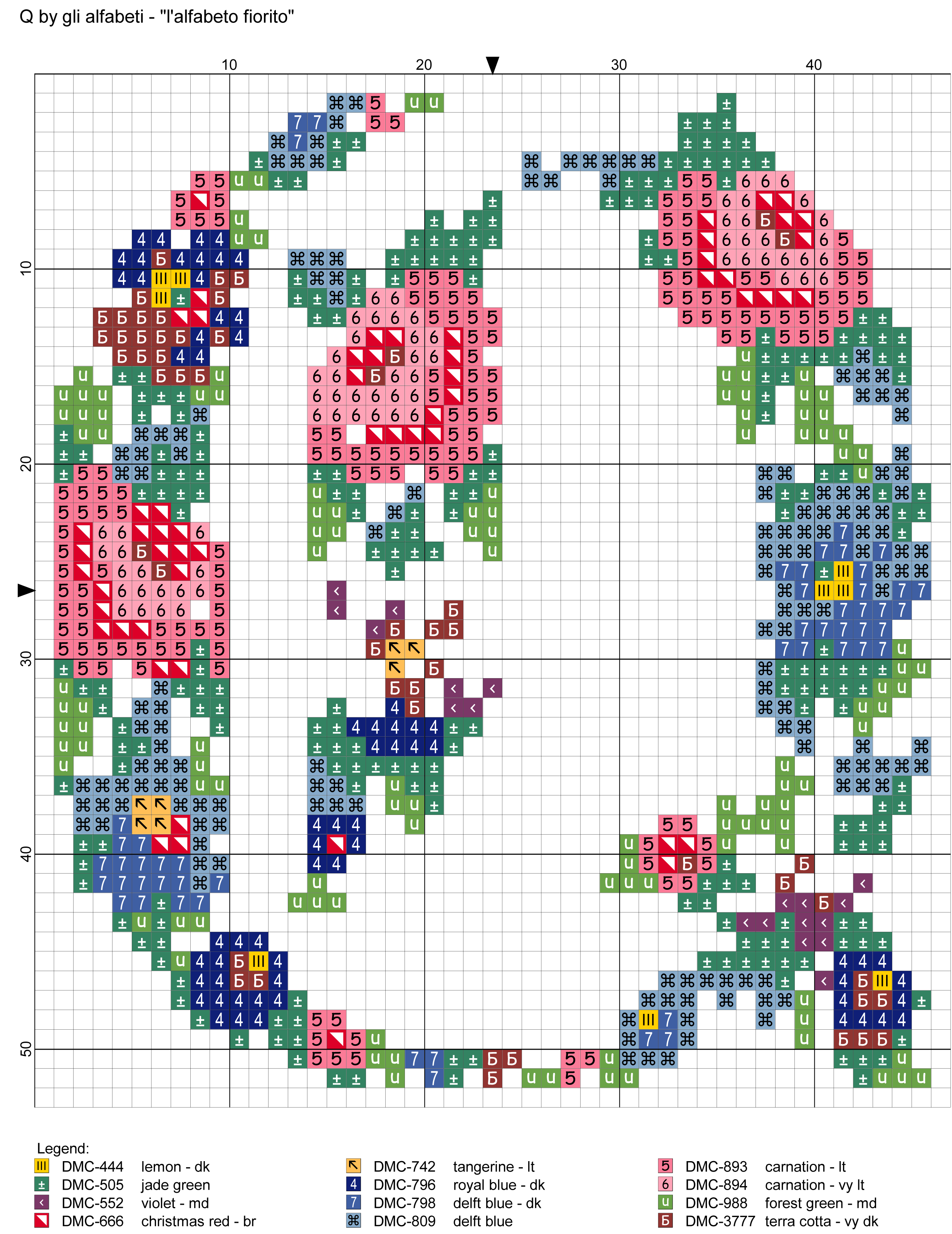 Alfabeto fiorito: Q  Alphabet LettersMonogram WallDiy EmbroideryCross ...