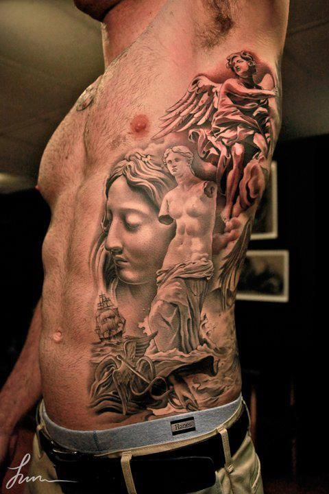 Left Side Rib 3d Grey Ink Angel Tattoos Cool Tattoos border=