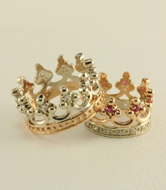 Wedding rings Crown 14K white and yellow gold ruby white