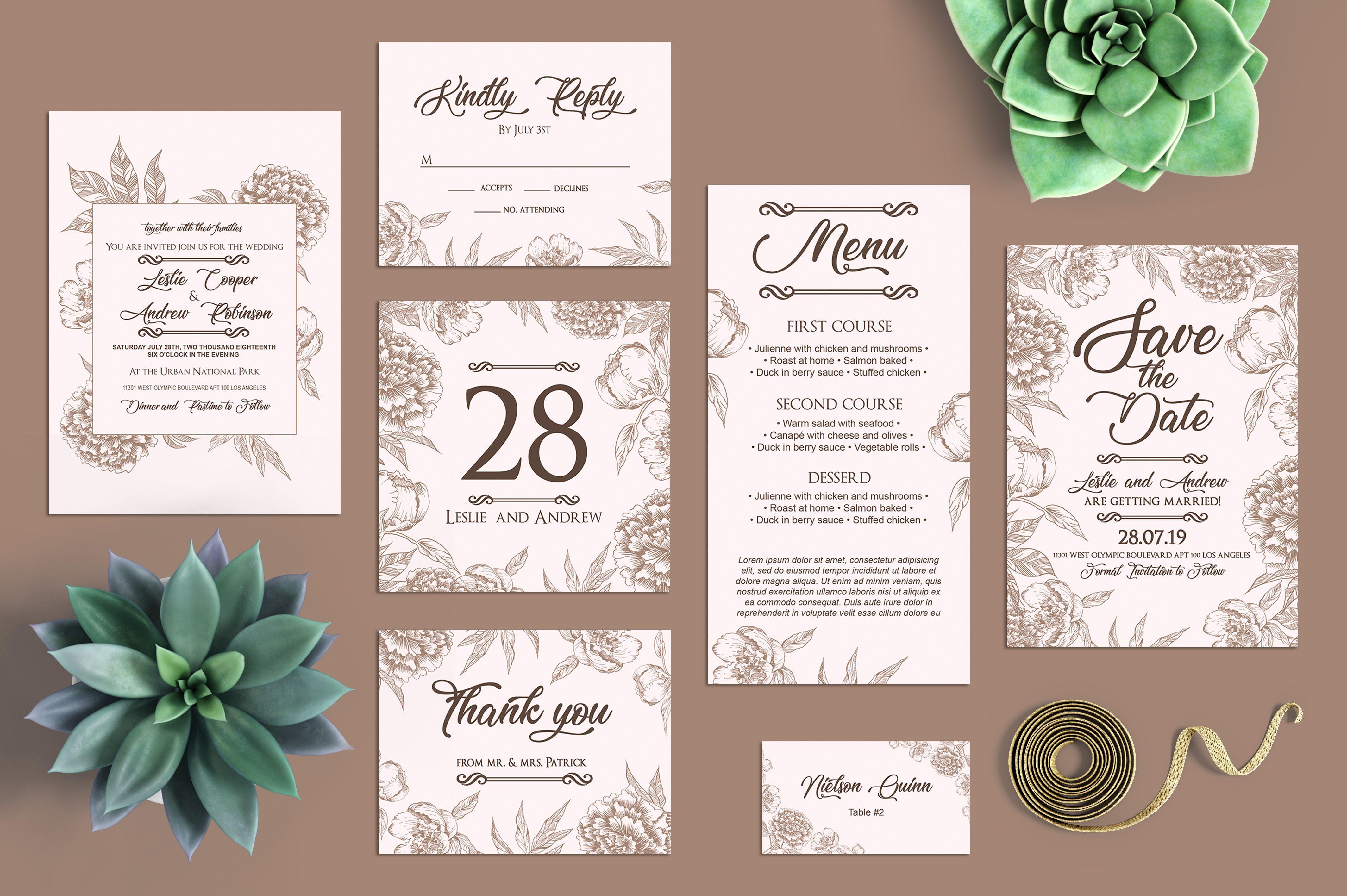 Free Minimalist Peonies Wedding Templates Package In Psd