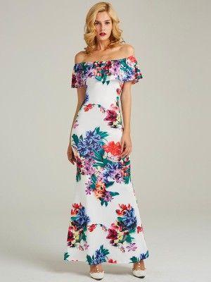 b5f3055696 Fashion Floral Print Off Shoulder Ruffle Maxi Dress Casual Long Dress