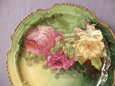 Antique LRL Limoges France cabinet plate charger pink yellow roses signed