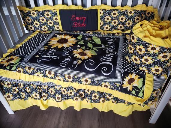 Baby Girl Bedding Sunflower You Are, Sunflower Crib Bedding