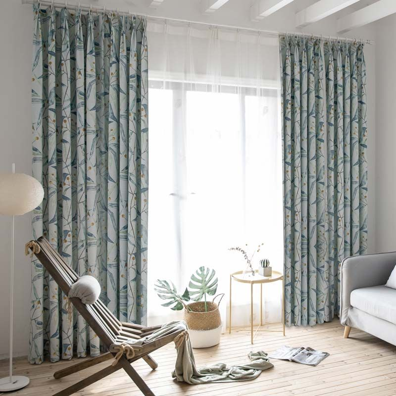 American Simple Curtain Blue Branch Printing Curtain Bedroom Living Room Cotton Linen Fabric Simple Curtains Curtains Grey Curtains #printed #curtains #living #room