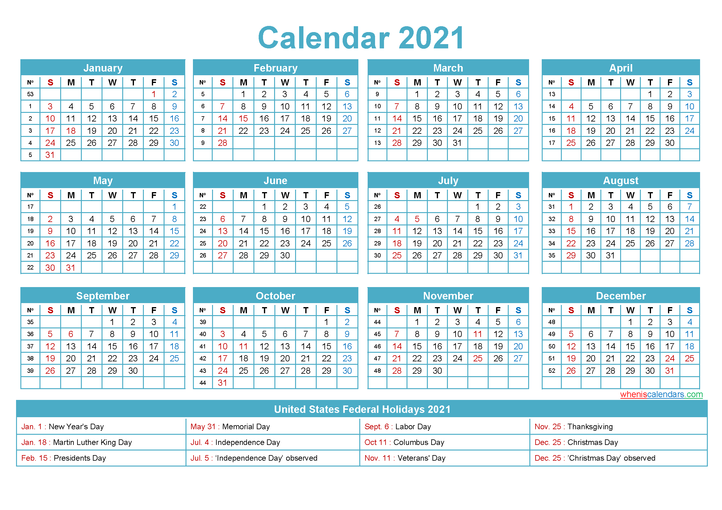 Mini Desk Calendar 2021 Free Printable preview, scroll down to get