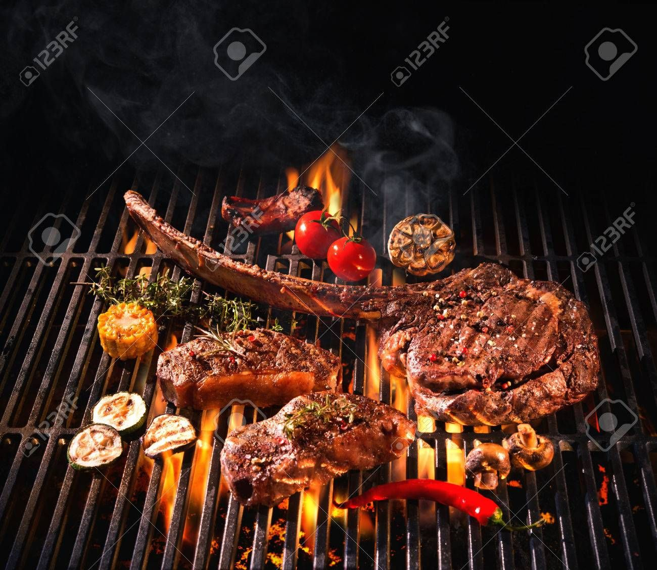 Beef steaks on the grill with flames , #AFF, #steaks, #Beef, #flames, #grill