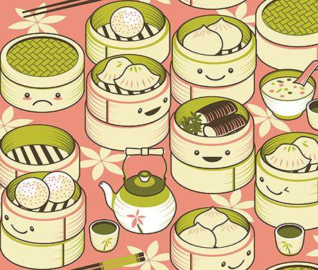 Cute Dim Sum Bamboo Steamer Illustration Dim Sum Food Illustrations Illustration Food