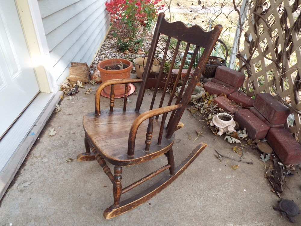 Brilliant Antique Childs Rocking Chair Solid Wood Rocker 90 Years Beatyapartments Chair Design Images Beatyapartmentscom