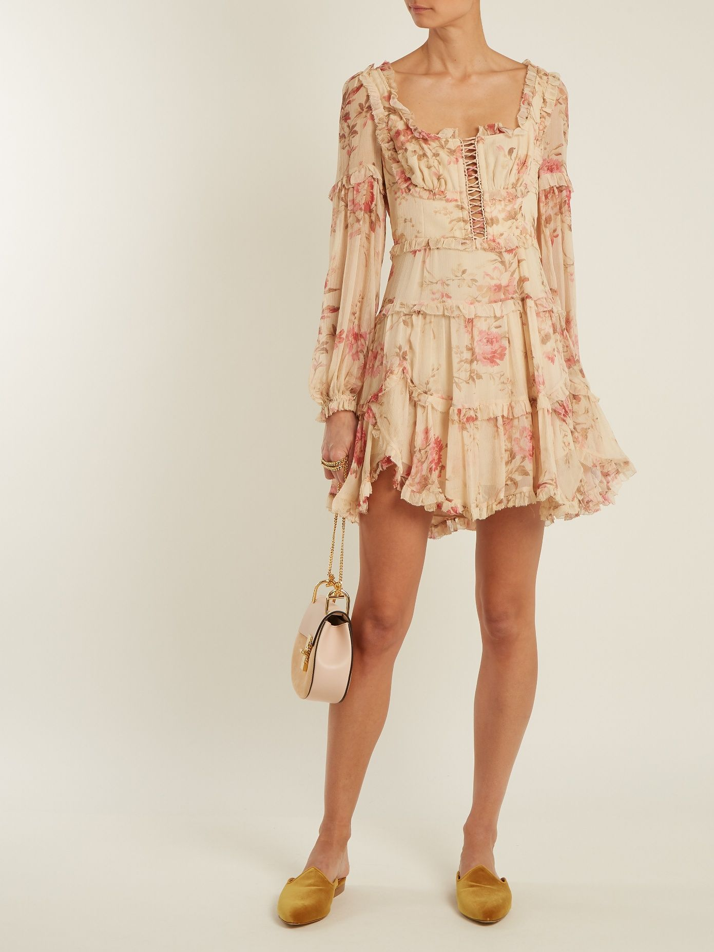 Click here to buy Zimmermann Corsair Frill floral-print silk-georgette dress  at MATCHESFASHION