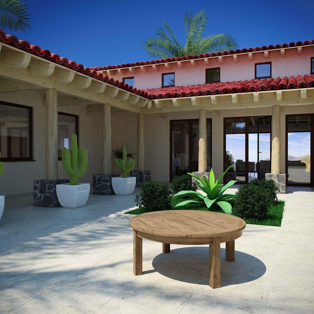 Modway marina outdoor patio teak round coffee table