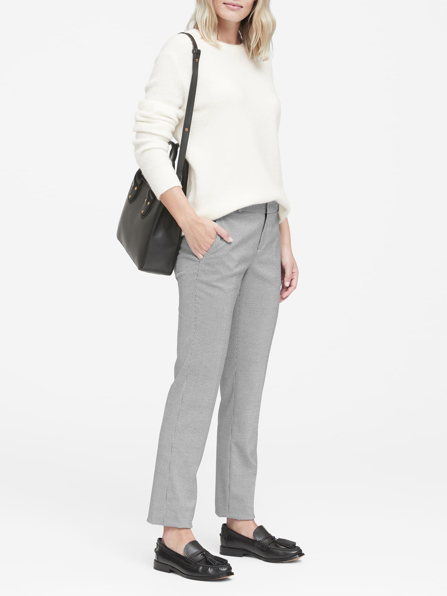 4710d30c38b791 Ryan Slim Straight-Fit Machine-Washable Houndstooth Pant | Banana Republic