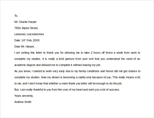 Sample Thank You Letter Employer Download Free Documents