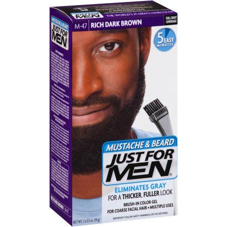 Just For Men Mustache & Beard Hair Color Kit, M-47 Rich Dark Brown ...