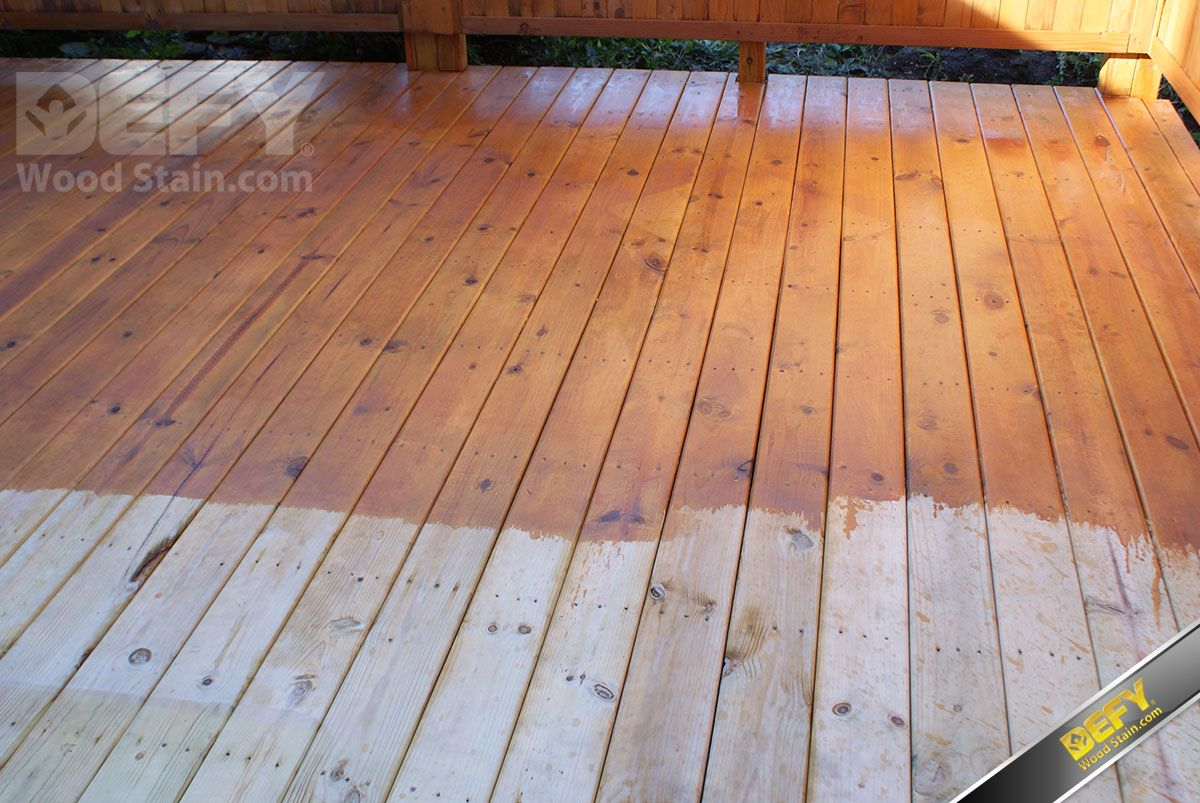 Pressure treated deck partially stained with defy extreme for Pressure treated decking