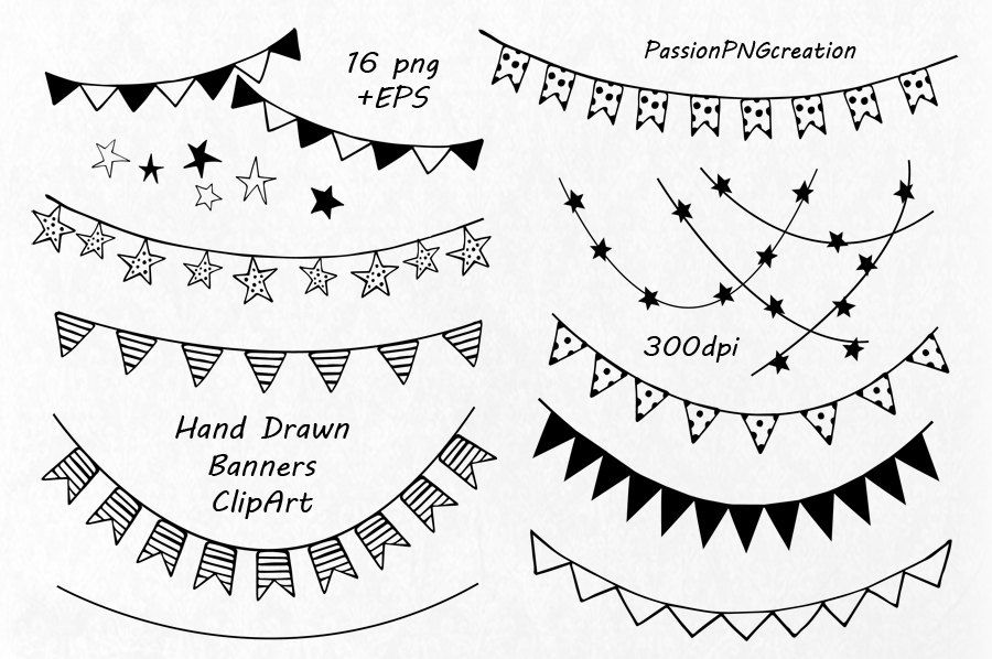 Hand Drawn Banners Clipart Banner Clip Art Png Eps Vector Etsy Banner Clip Art Banner Drawing How To Draw Hands