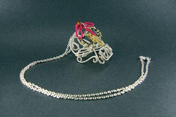 Wire Skull Pendant, Wire Wrap Skull Necklace, Sugar Skull Pendant, Skull and Roses Wire Wrap Pendant
