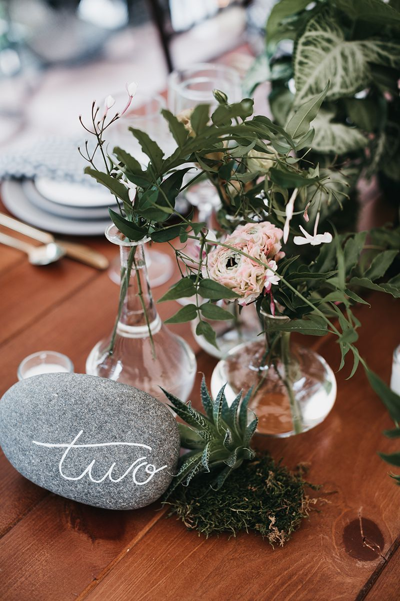 Rustic Garden Tablescape Farm Table With Moss Rock Table Number