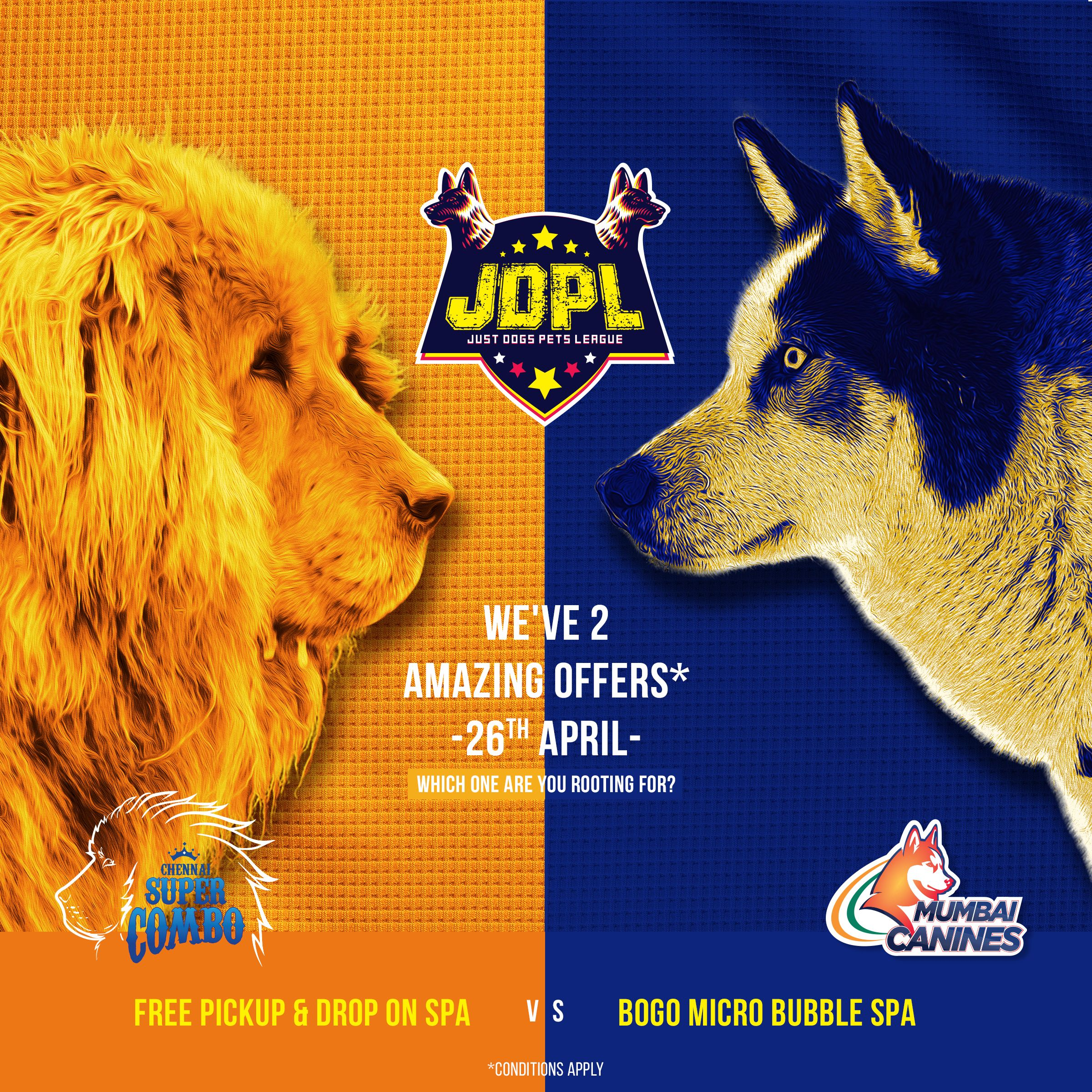 Everyone Is Supporting Their Favourite Ipl Teams And Simultaneously Their Favourite Jdpl Offers Support Chennai Super Combo And Get Fre Pet Spa Pets Dogs